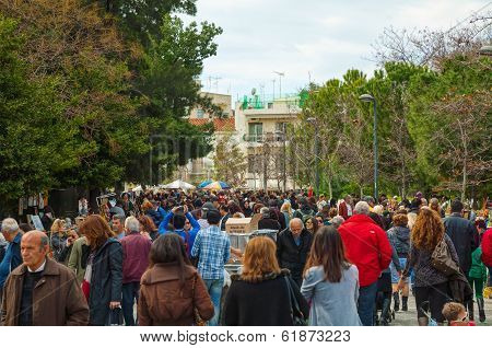 Crowded Street In Athens, Greece