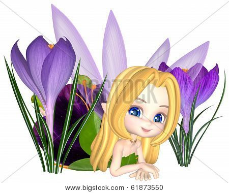 Cute Toon Purple Crocus Fairy, Lounging