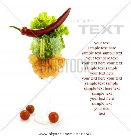 Red Hot Chili Pepper, Lettuce And Cherry Tomatoes