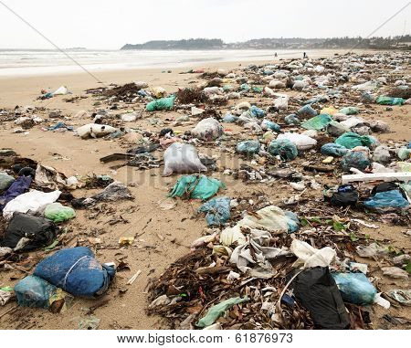 Spontaneous garbage dump on a beach in Vietnam