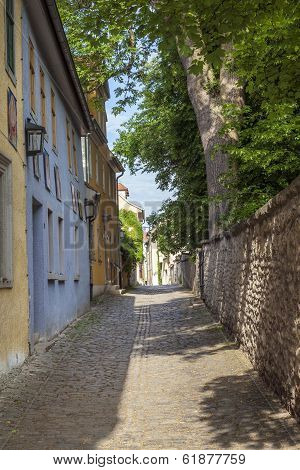 Small Road With Facade Of Medieval Houses In Weimar