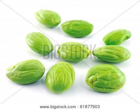 Tropical Stinking Edible Beans On White Background (parkia Speciosa)