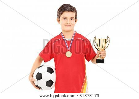 Football player holding a golden cup isolated on white background