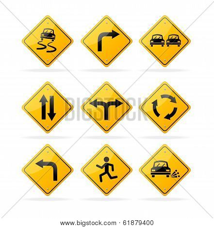 Vector yellow road traffic signs set