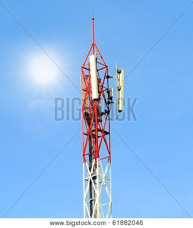 signal telephone white red pole with the sky