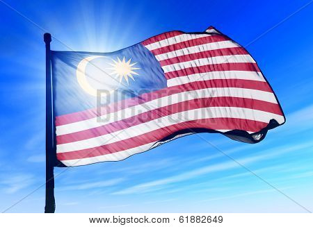 Malaysia Flag Waving On The Wind