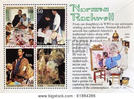 UNITED STATES OF AMERICA -CIRCA 1993: A stamp printed in USA shows Norman Rockwell circa 1993