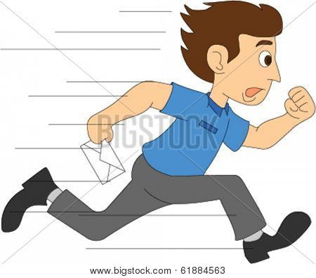 Delivery Boy Running with Letter