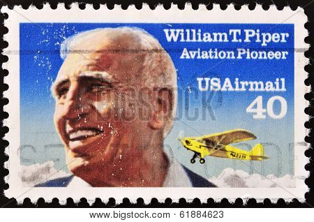 UNITED STATES OF AMERICA - CIRCA 1991: a stamp printed in USA shows William T. Piper