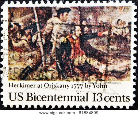 UNITED STATES OF AMERICA - CIRCA 1977 : A stamp printed in the USA shows Herkimer at Oriskany 1777