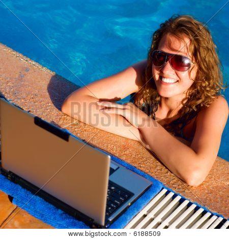Woman Pool Laptop