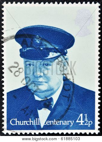 GREAT BRITAIN - CIRCA 1974: a stamp printed in United Kingdom shows Sir Winston Spencer Churchill