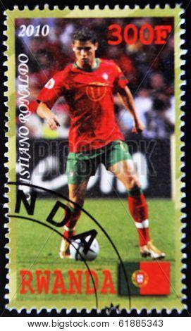 RWANDA - CIRCA 2010: A stamp printed in Rwanda shows Portugal player Cristiano Ronaldo circa 2010