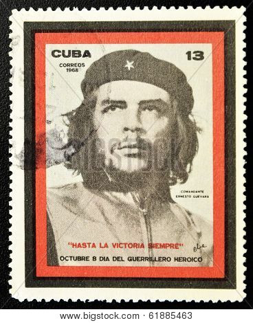 CUBA - CIRCA 1968: A stamp printed in Cuba showing the Che Guevara Day of the Heroic Guerrilla