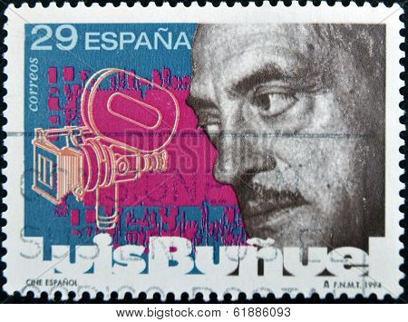 SPAIN - CIRCA 1994: A stamp printed in Spain shows Luis Buñuel circa 1994