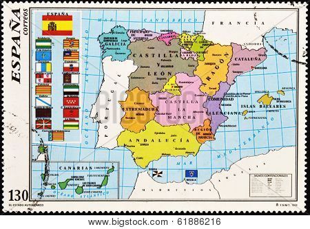 SPAIN - CIRCA 1996: A stamp printed in Spain shows the map of Spain with the Autonomous Communities