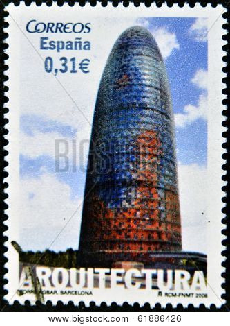 SPAIN - CIRCA 2006: A stamp printed in Spain shows Agbar Tower in Barcelona circa 2006