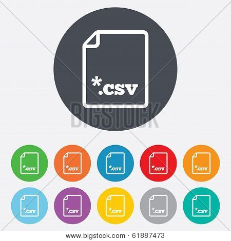 File document icon. Download CSV button.