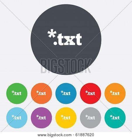 Text file icon. Download txt doc button.