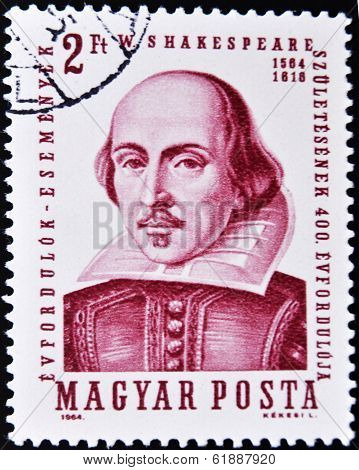 HUNGARY - CIRCA 1964: A stamp printed in Hungary shows image of William Shakespeare