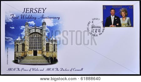 stamp printed in Jersey commemorates the first anniversary of the wedding of Prince Charles