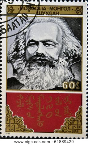 MONGOLIA - CIRCA 1988: A stamp printed in Mongolia shows Karl Marx circa 1988