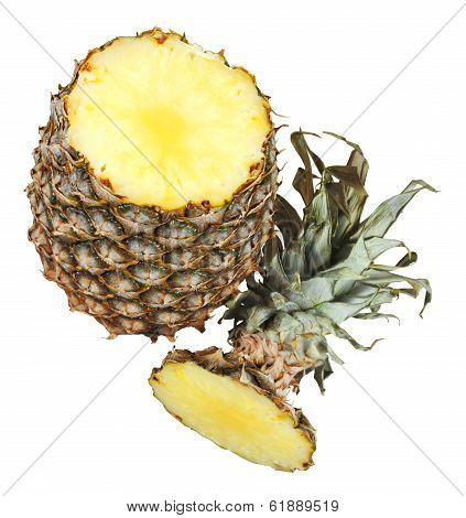 Ripe Pineapple With Cut Tip