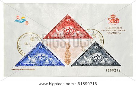 SPAIN - CIRCA 1992: A stamp printed in Spain commemorating the centenary V the discovery of America