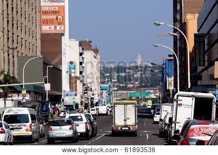 Busy Street In Business District In Durban