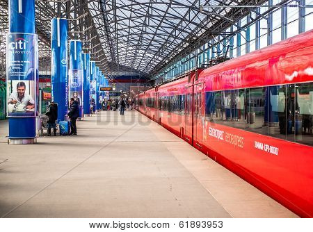 Aeroexpress Trains on the Train station Sheremetyevo