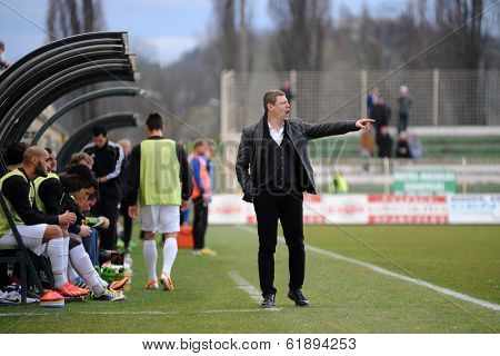 KAPOSVAR, HUNGARY - MARCH 16, 2014: Tibor Selymes (Kaposvar trainer) in action at a Hungarian Championship soccer game - Kaposvar (white) vs Puskas Akademia (blue).