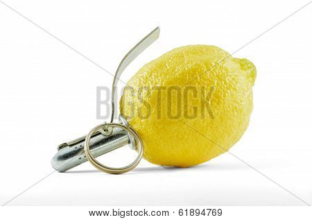 Lemon fruit with grenade detonator, isolated with clipping path