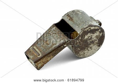 Old sports whistle isolated with clipping path