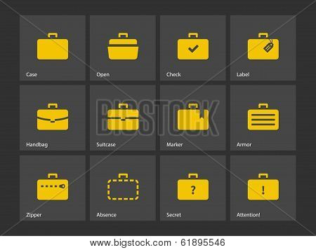 Case icons. Traveling bags and luggage.