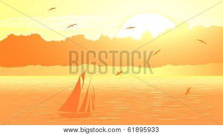 Vector Sailboat Against Orange Sunset.
