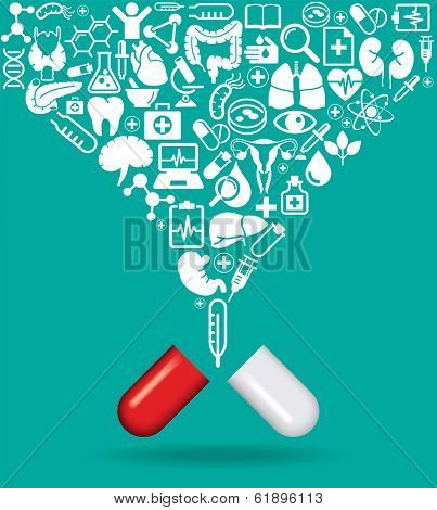 Pill with icons of human anatomy and medicine. The concept of modern medicine. The file is saved in the version AI10 EPS. This image contains transparency.