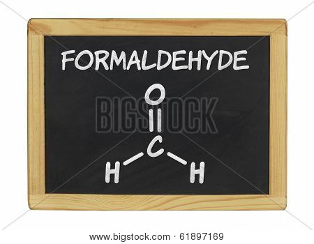 chemical formula of formaldehyde on a blackboard