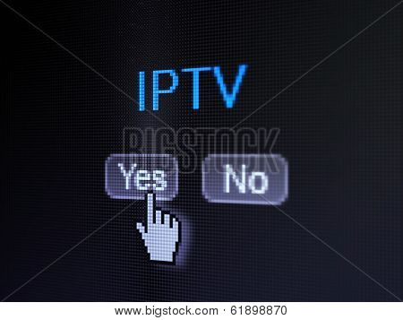 Web development concept: IPTV on digital computer screen