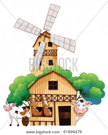 Illustration of a barn at the farm with animals on a white background
