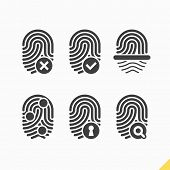 stock photo of fingerprint  - Fingerprint icons set - JPG