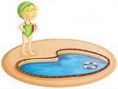 stock photo of one piece swimsuit  - Illustration of a young girl in the pool on a white background - JPG