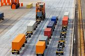 picture of spreader  - Large port container terminal and mobile spreader - JPG