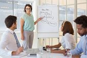 stock photo of half-dressed  - Young businesswoman giving presentation to colleagues in a bright office - JPG