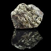 image of ore lead  - Chalkopyrite copper with reflection on black surface background  - JPG