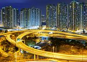 traffic , aerial view of the city overpass at night, HongKong,Asia China