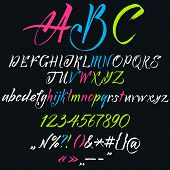 stock photo of punctuation  - The alphabet in calligraphy brush - JPG