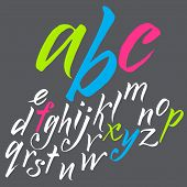 The alphabet in calligraphy brush.