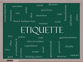 stock photo of politeness  - Etiquette Word Cloud Concept on a Blackboard with great terms such as manners polite social and more - JPG