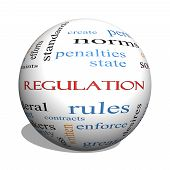 stock photo of conduction  - Regulation 3D sphere Word Cloud Concept with great terms such as rules enforce government and more - JPG