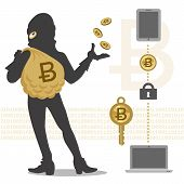 picture of bitcoin  - Vector of Bitcoin hacker and its transaction - JPG